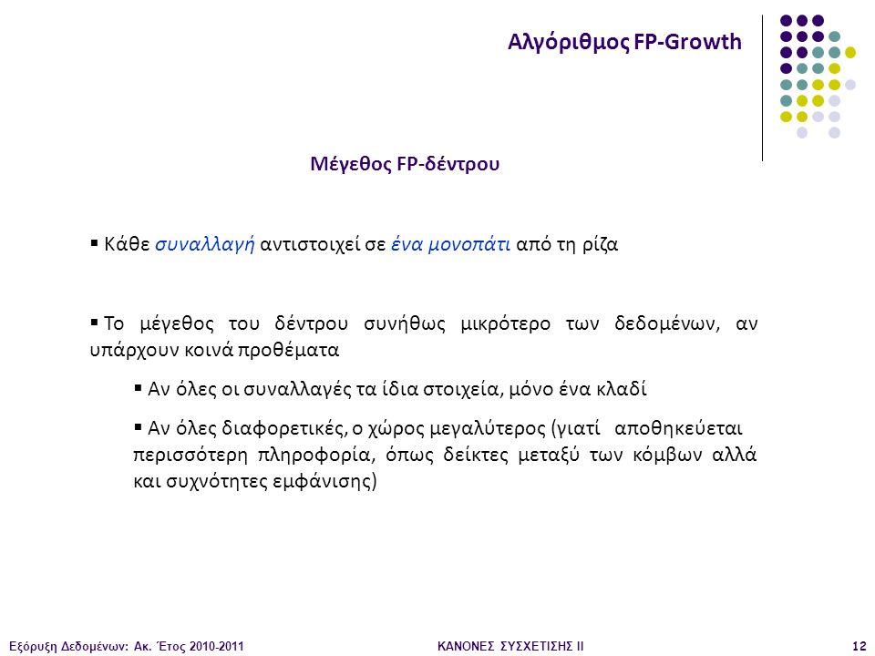 Εξόρυξη Δεδομένων: Ακ. Έτος 2010-2011ΚΑΝΟΝΕΣ ΣΥΣΧΕΤΙΣΗΣ ΙI12 Μέγεθος FP-δέντρου Αλγόριθμος FP-Growth  Κάθε συναλλαγή αντιστοιχεί σε ένα μονοπάτι από