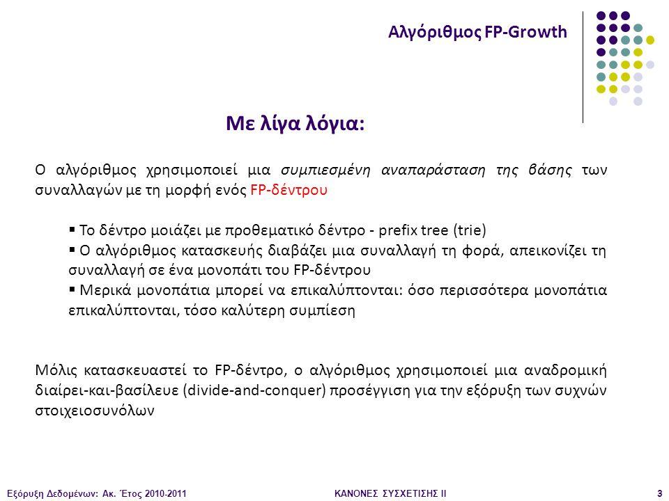Εξόρυξη Δεδομένων: Ακ. Έτος 2010-2011ΚΑΝΟΝΕΣ ΣΥΣΧΕΤΙΣΗΣ ΙI3 Αλγόριθμος FP-Growth Ο αλγόριθμος χρησιμοποιεί μια συμπιεσμένη αναπαράσταση της βάσης των