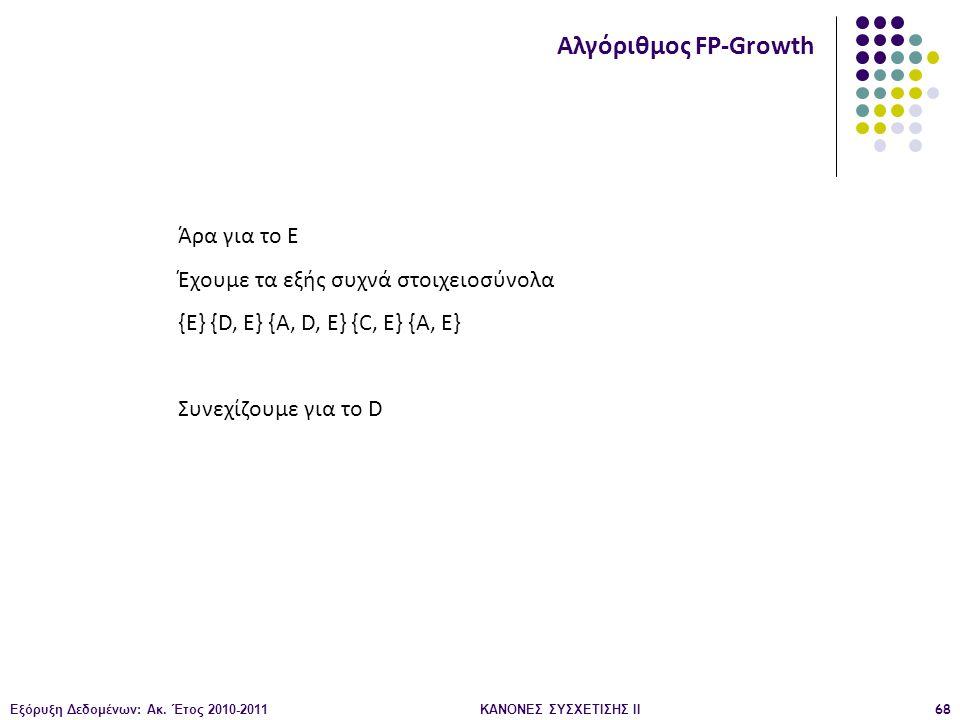 Εξόρυξη Δεδομένων: Ακ. Έτος 2010-2011ΚΑΝΟΝΕΣ ΣΥΣΧΕΤΙΣΗΣ ΙI68 Αλγόριθμος FP-Growth Άρα για το Ε Έχουμε τα εξής συχνά στοιχειοσύνολα {Ε} {D, E} {A, D, E
