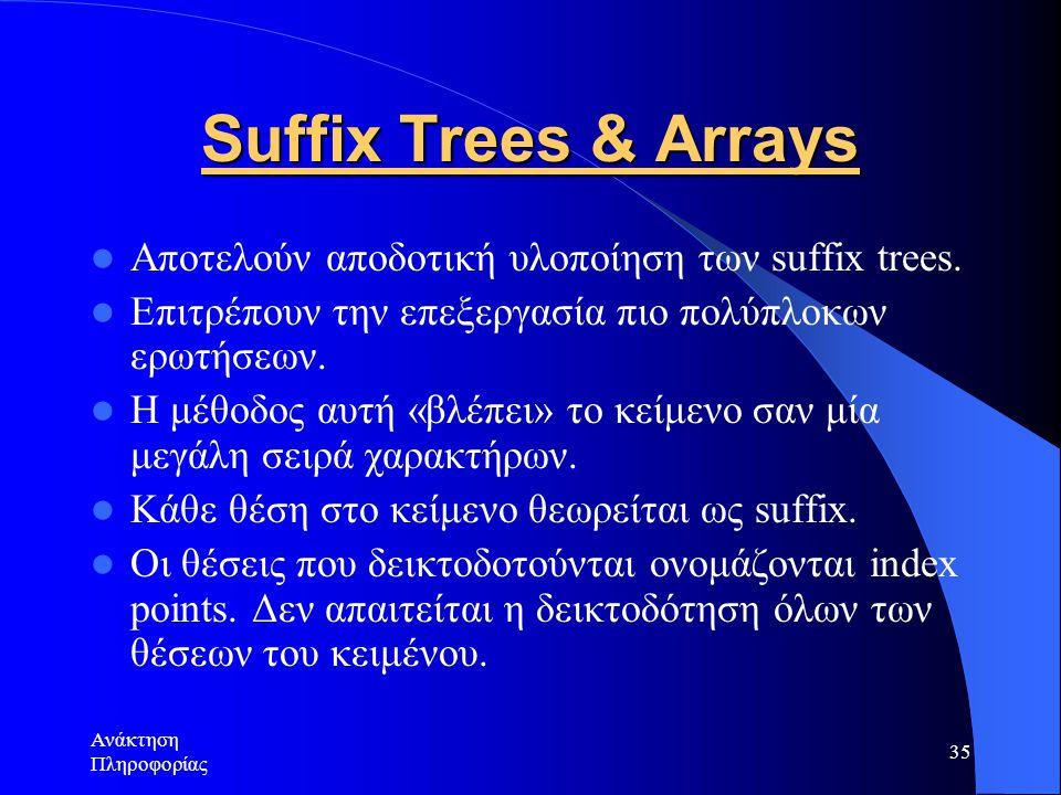 Ανάκτηση Πληροφορίας 35 Suffix Trees & Arrays Αποτελούν αποδοτική υλοποίηση των suffix trees. Επιτρέπουν την επεξεργασία πιο πολύπλοκων ερωτήσεων. Η μ