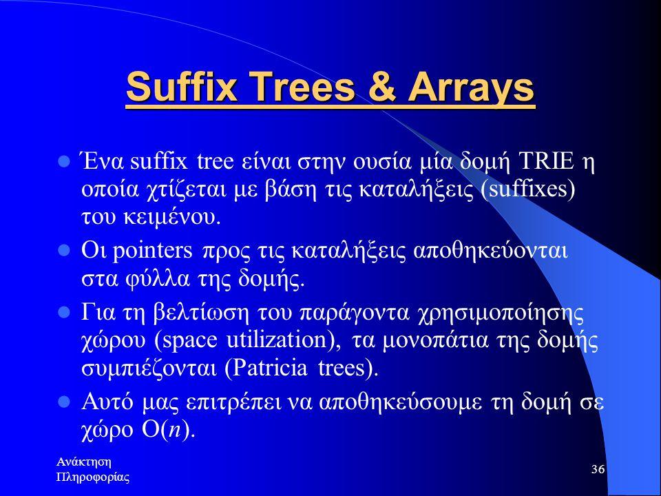Ανάκτηση Πληροφορίας 36 Suffix Trees & Arrays Ένα suffix tree είναι στην ουσία μία δομή TRIE η οποία χτίζεται με βάση τις καταλήξεις (suffixes) του κε