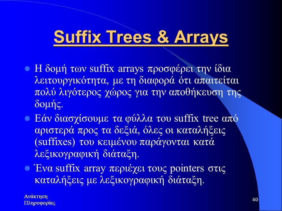 Ανάκτηση Πληροφορίας 40 Suffix Trees & Arrays Η δομή των suffix arrays προσφέρει την ίδια λειτουργικότητα, με τη διαφορά ότι απαιτείται πολύ λιγότερος