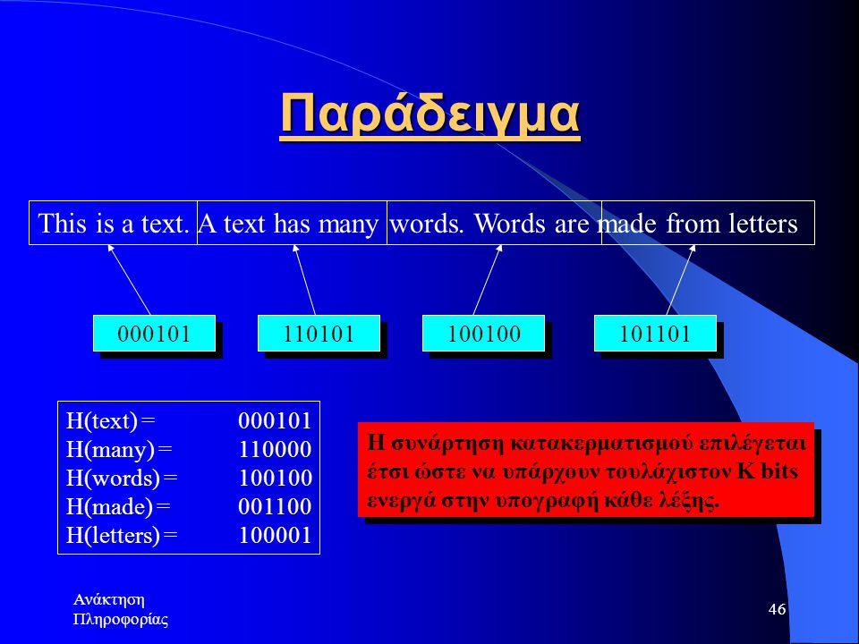 Ανάκτηση Πληροφορίας 46 Παράδειγμα This is a text. A text has many words. Words are made from letters 000101 110101 100100 101101 H(text) = 000101 H(m