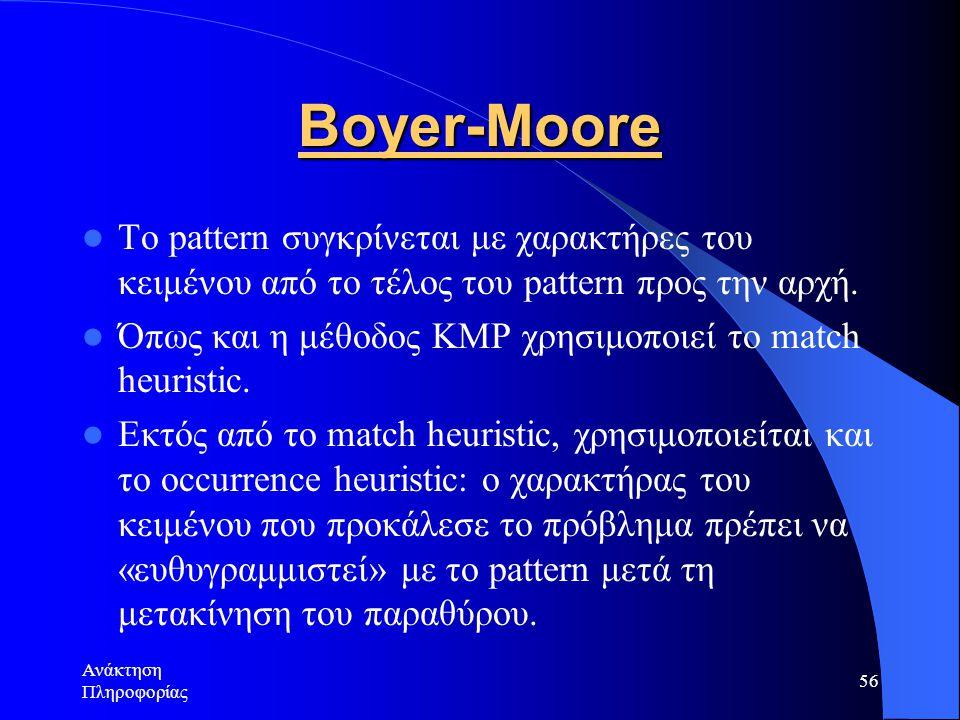Ανάκτηση Πληροφορίας 56 Boyer-Moore Το pattern συγκρίνεται με χαρακτήρες του κειμένου από το τέλος του pattern προς την αρχή. Όπως και η μέθοδος KMP χ