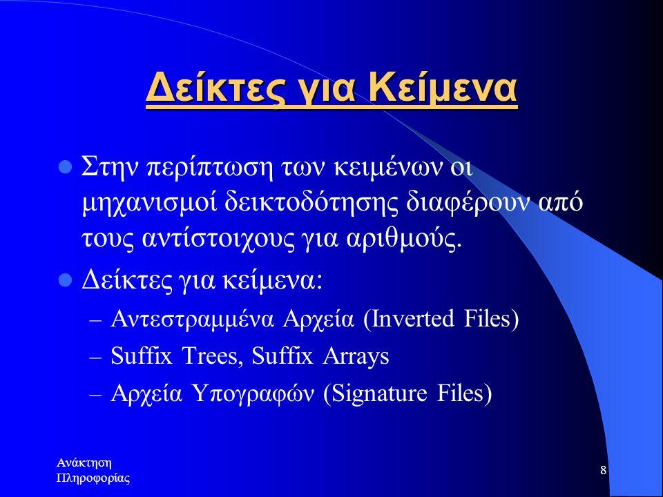 Ανάκτηση Πληροφορίας 8 Δείκτες για Κείμενα Στην περίπτωση των κειμένων οι μηχανισμοί δεικτοδότησης διαφέρουν από τους αντίστοιχους για αριθμούς. Δείκτ