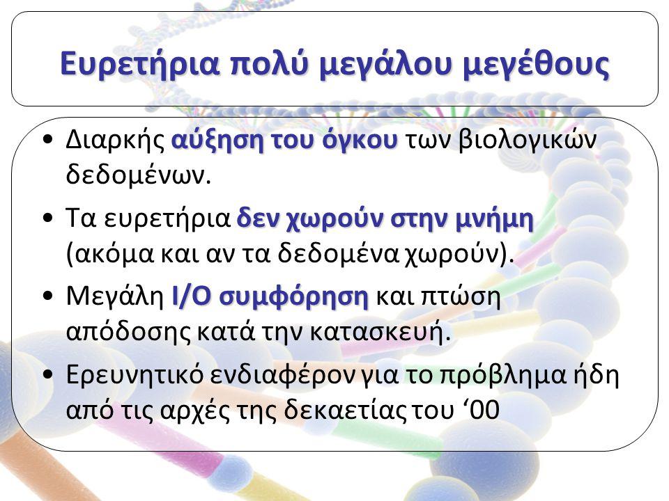 Ευρετήρια πολύ μεγάλου μεγέθους αύξηση του όγκουΔιαρκής αύξηση του όγκου των βιολογικών δεδομένων.