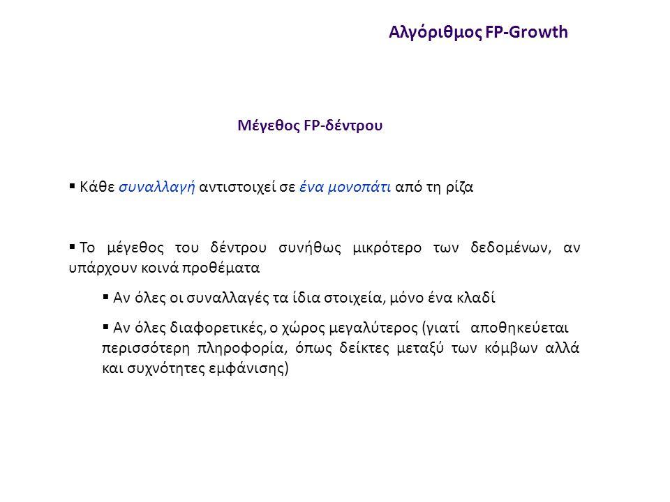 Μέγεθος FP-δέντρου Αλγόριθμος FP-Growth  Κάθε συναλλαγή αντιστοιχεί σε ένα μονοπάτι από τη ρίζα  Το μέγεθος του δέντρου συνήθως μικρότερο των δεδομένων, αν υπάρχουν κοινά προθέματα  Αν όλες οι συναλλαγές τα ίδια στοιχεία, μόνο ένα κλαδί  Αν όλες διαφορετικές, ο χώρος μεγαλύτερος (γιατί αποθηκεύεται περισσότερη πληροφορία, όπως δείκτες μεταξύ των κόμβων αλλά και συχνότητες εμφάνισης)