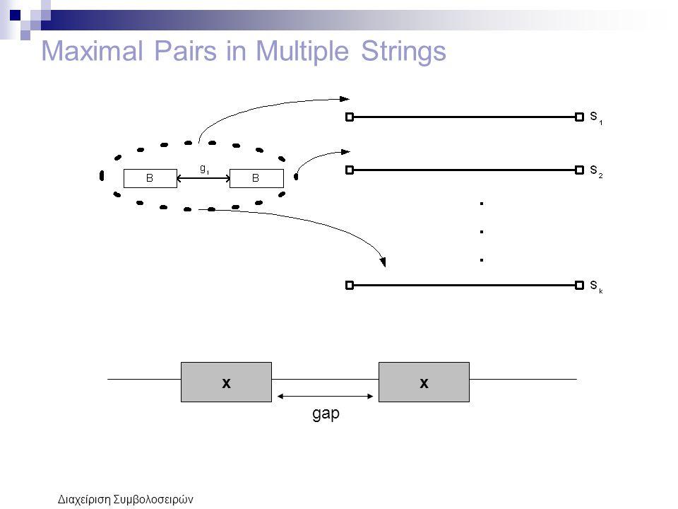 Διαχείριση Συμβολοσειρών Maximal Pairs in Multiple Strings xx gap