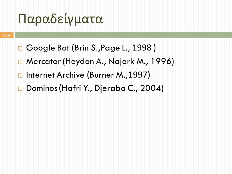 Παραδείγματα  Google Bot (Brin S.,Page L., 1998 )  Mercator (Heydon A., Najork M., 1996)  Internet Archive (Burner M.,1997)  Dominos (Hafri Y., Djeraba C., 2004) 10/45