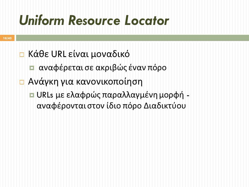 Uniform Resource Locator  Κάθε URL είναι μοναδικό  αναφέρεται σε ακριβώς έναν πόρο  Ανάγκη για κανονικοποίηση  URLs με ελαφρώς παραλλαγμένη μορφή - αναφέρονται στον ίδιο πόρο Διαδικτύου 18/45