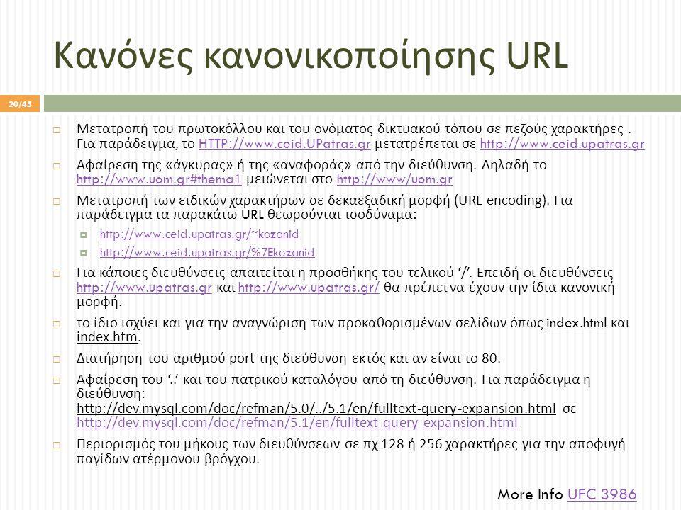 Κανόνες κανονικοποίησης URL  Μετατροπή του πρωτοκόλλου και του ονόματος δικτυακού τόπου σε πεζούς χαρακτήρες.