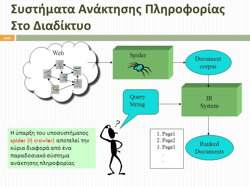Συστήματα Ανάκτησης Πληροφορίας Στο Διαδίκτυο Query String IR System Ranked Documents 1.
