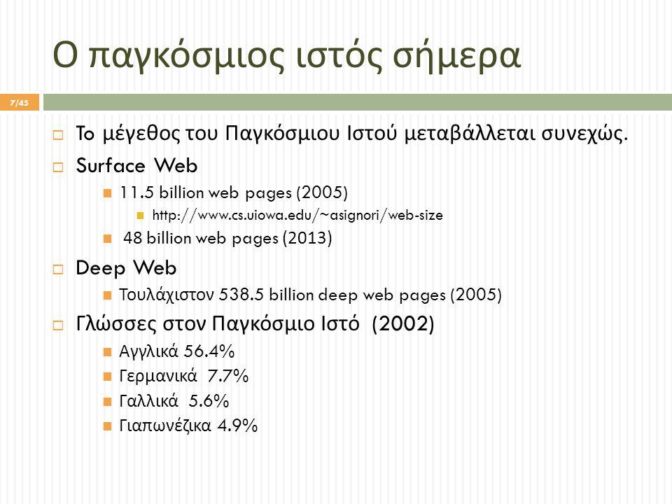 Προσκομιστές Πληροφορίας  Προγράμματα που εκμεταλλεύονται τη δομή γράφου του Παγκόσμιου Ιστού προκειμένου να επισκεφθούν όσο το δυνατόν μεγαλύτερο μέρος του  Απώτερος σκοπός : η δημιουργία ενός ευρετηρίου για τις ιστοσελίδες που ανακάλυψε.