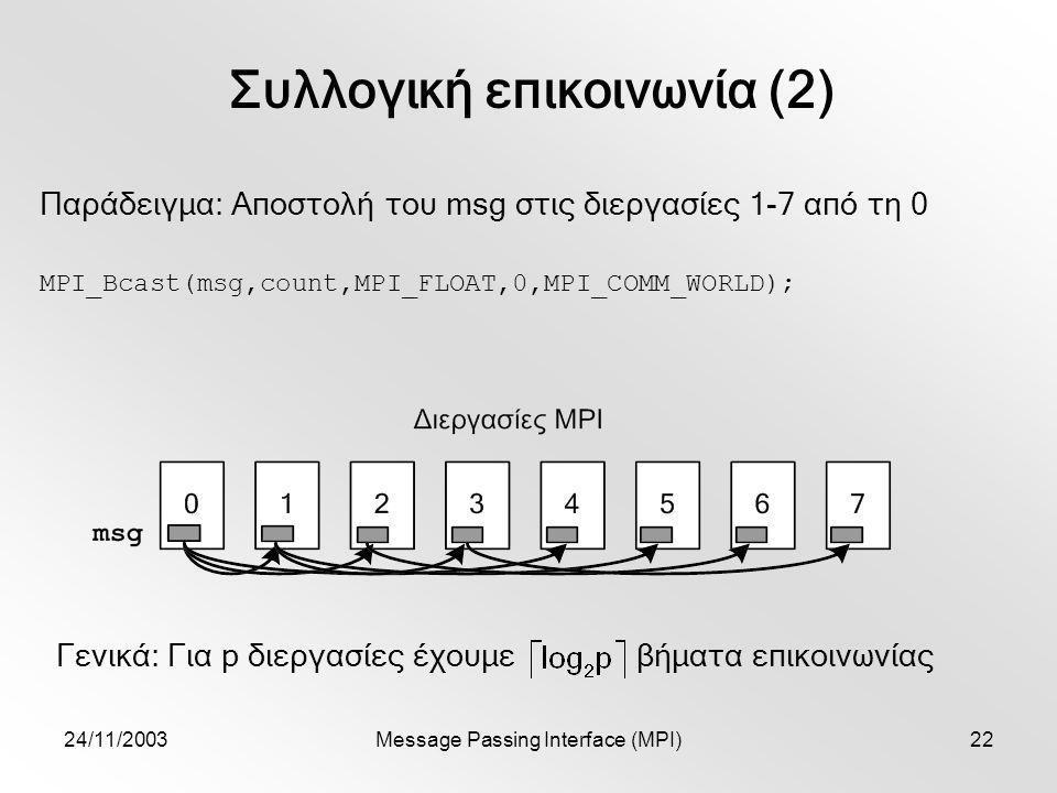 24/11/2003Message Passing Interface (MPI)22 Συλλογική επικοινωνία (2) MPI_Bcast(msg,count,MPI_FLOAT,0,MPI_COMM_WORLD); Παράδειγμα: Αποστολή του msg στις διεργασίες 1-7 από τη 0 Γενικά: Για p διεργασίες έχουμε βήματα επικοινωνίας