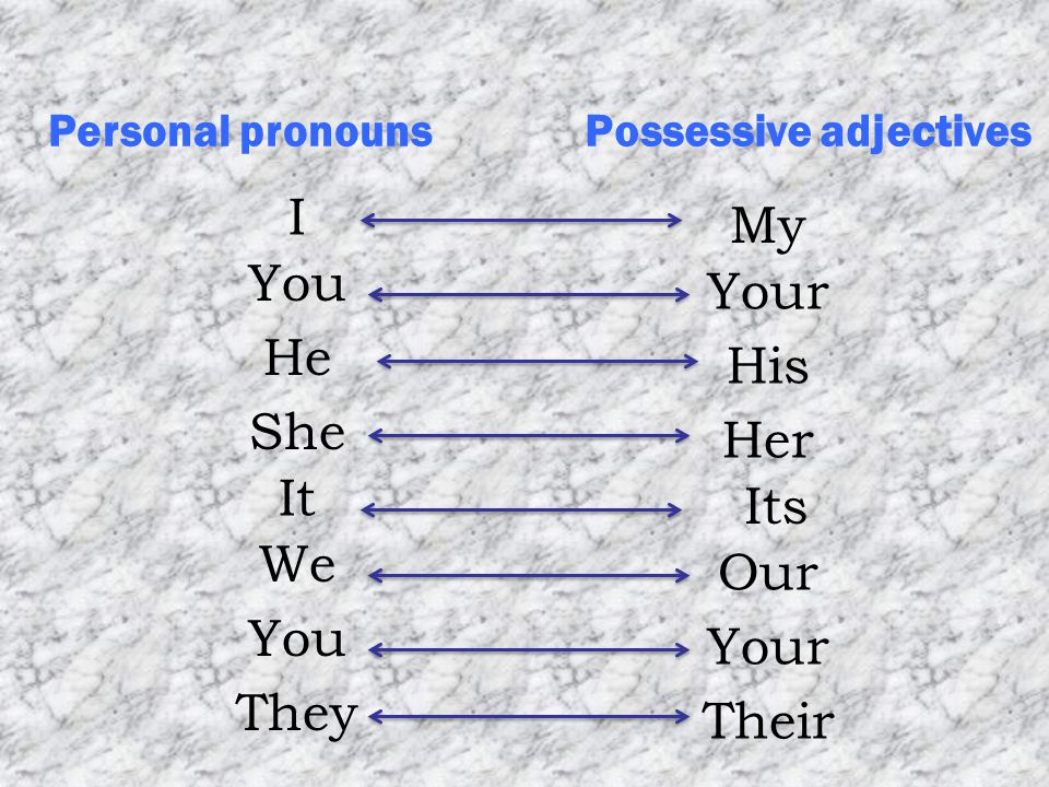 Possessive adjectivesPersonal pronouns You He She It We You I They Your His Her Its Our Your My Their
