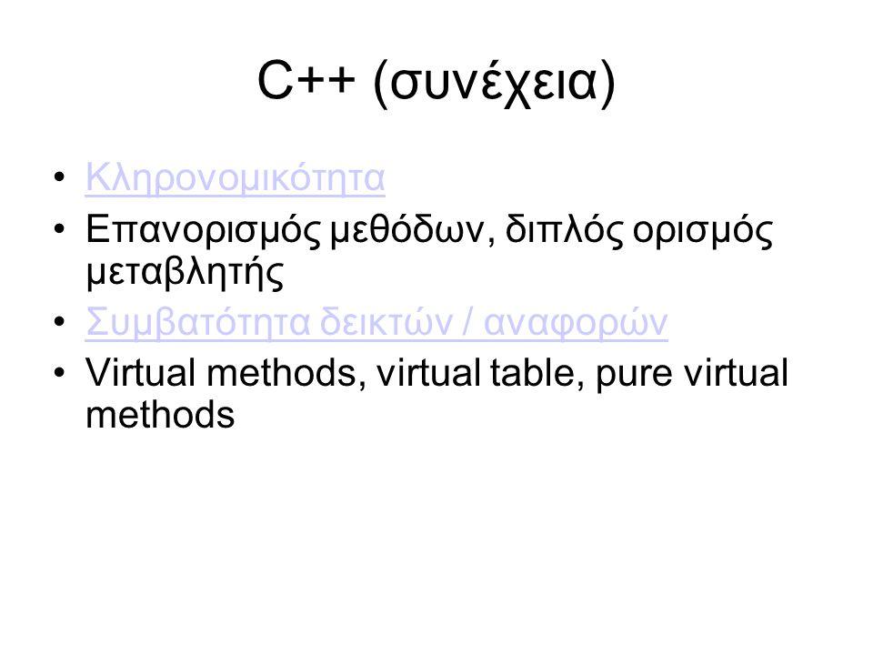 C++ (συνέχεια) Κληρονομικότητα Επανορισμός μεθόδων, διπλός ορισμός μεταβλητής Συμβατότητα δεικτών / αναφορών Virtual methods, virtual table, pure virtual methods