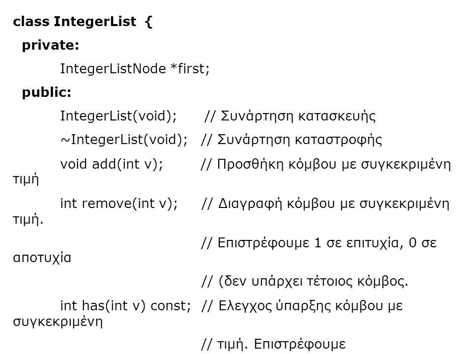 class IntegerList { private: IntegerListNode *first; public: IntegerList(void); // Συνάρτηση κατασκευής ~IntegerList(void); // Συνάρτηση καταστροφής void add(int v); // Προσθήκη κόμβου με συγκεκριμένη τιμή int remove(int v);// Διαγραφή κόμβου με συγκεκριμένη τιμή.