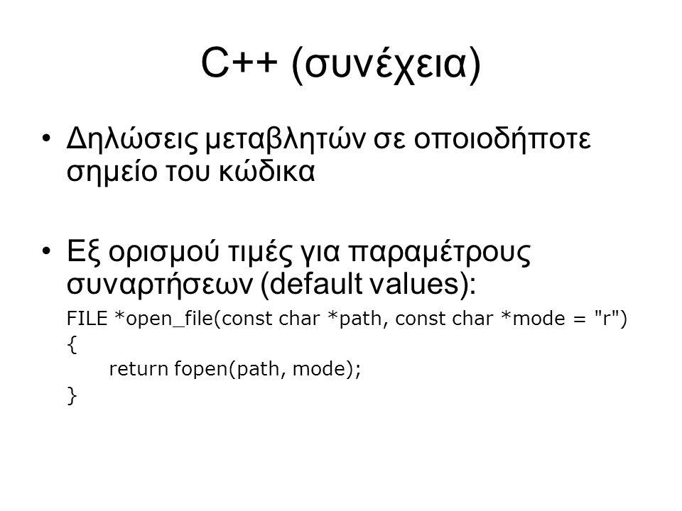 C++ (συνέχεια) Δηλώσεις μεταβλητών σε οποιοδήποτε σημείο του κώδικα Εξ ορισμού τιμές για παραμέτρους συναρτήσεων (default values): FILE *open_file(const char *path, const char *mode = r ) { return fopen(path, mode); }