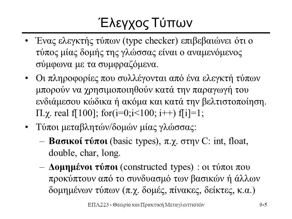 ΕΠΛ223 - Θεωρία και Πρακτική Μεταγλωττιστών9-5 Έλεγχος Τύπων Ένας ελεγκτής τύπων (type checker) επιβεβαιώνει ότι ο τύπος μίας δομής της γλώσσας είναι ο αναμενόμενος σύμφωνα με τα συμφραζόμενα.