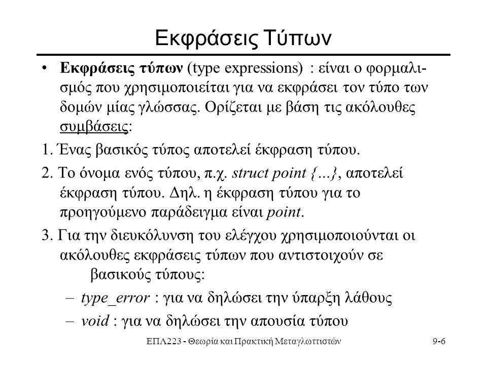 ΕΠΛ223 - Θεωρία και Πρακτική Μεταγλωττιστών9-7 Εκφράσεις Τύπων - Συμβάσεις 4.