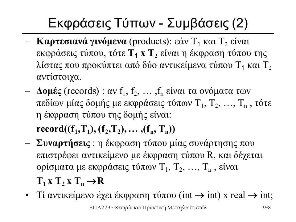 ΕΠΛ223 - Θεωρία και Πρακτική Μεταγλωττιστών9-8 Εκφράσεις Τύπων - Συμβάσεις (2) –Καρτεσιανά γινόμενα (products): εάν Τ 1 και Τ 2 είναι εκφράσεις τύπου, τότε Τ 1 x Τ 2 είναι η έκφραση τύπου της λίστας που προκύπτει από δύο αντικείμενα τύπου Τ 1 και Τ 2 αντίστοιχα.
