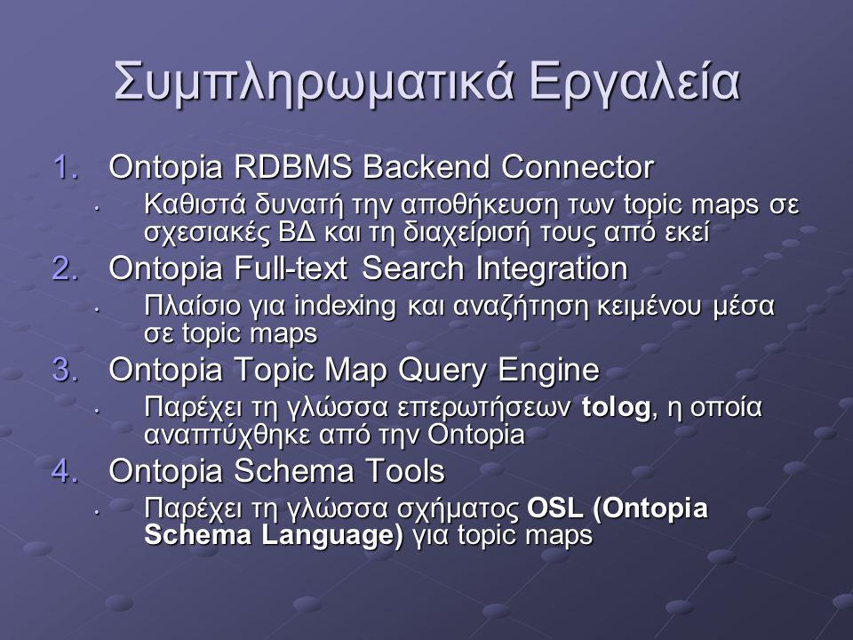 Συμπληρωματικά Εργαλεία 1.Ontopia RDBMS Backend Connector Καθιστά δυνατή την αποθήκευση των topic maps σε σχεσιακές ΒΔ και τη διαχείρισή τους από εκεί Καθιστά δυνατή την αποθήκευση των topic maps σε σχεσιακές ΒΔ και τη διαχείρισή τους από εκεί 2.Ontopia Full-text Search Integration Πλαίσιο για indexing και αναζήτηση κειμένου μέσα σε topic maps Πλαίσιο για indexing και αναζήτηση κειμένου μέσα σε topic maps 3.Ontopia Topic Map Query Engine Παρέχει τη γλώσσα επερωτήσεων tolog, η οποία αναπτύχθηκε από την Ontopia Παρέχει τη γλώσσα επερωτήσεων tolog, η οποία αναπτύχθηκε από την Ontopia 4.Ontopia Schema Tools Παρέχει τη γλώσσα σχήματος OSL (Ontopia Schema Language) για topic maps Παρέχει τη γλώσσα σχήματος OSL (Ontopia Schema Language) για topic maps