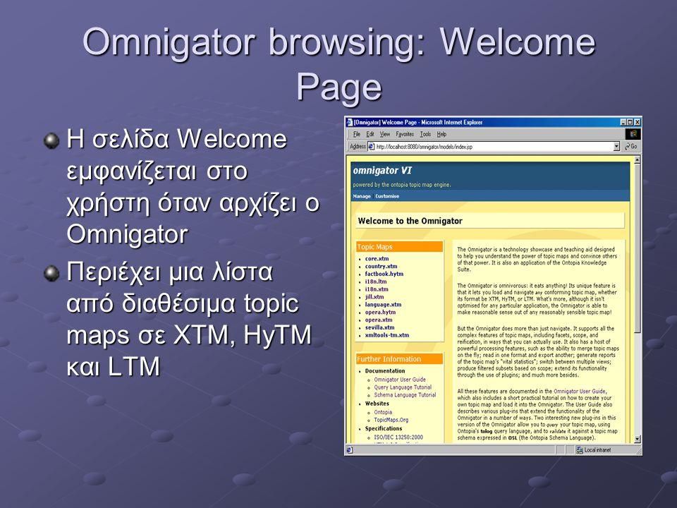 Omnigator browsing: Welcome Page Η σελίδα Welcome εμφανίζεται στο χρήστη όταν αρχίζει ο Omnigator Περιέχει μια λίστα από διαθέσιμα topic maps σε ΧΤΜ, HyTM και LTM