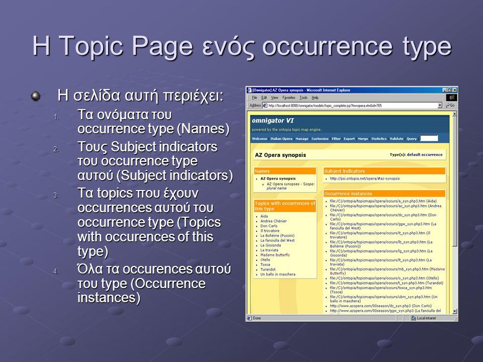 Η Topic Page ενός occurrence type Η σελίδα αυτή περιέχει: 1.