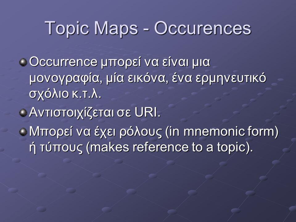 Topic Maps - Occurences Occurrence μπορεί να είναι μια μονογραφία, μία εικόνα, ένα ερμηνευτικό σχόλιο κ.τ.λ.