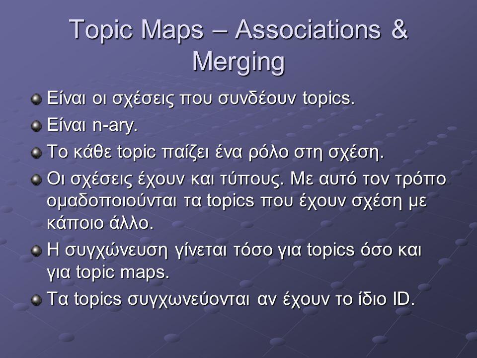 Topic Maps – Associations & Merging Είναι οι σχέσεις που συνδέουν topics.