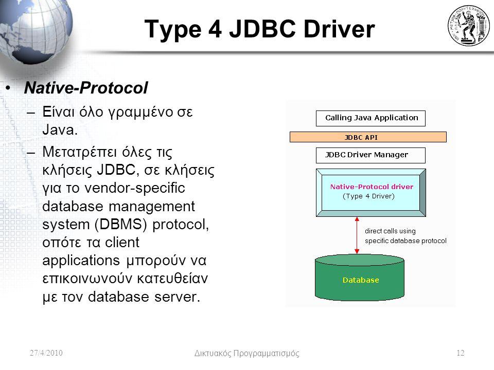 Type 4 JDBC Driver 27/4/2010Δικτυακός Προγραμματισμός12 Native-Protocol –Είναι όλο γραμμένο σε Java. –Μετατρέπει όλες τις κλήσεις JDBC, σε κλήσεις για