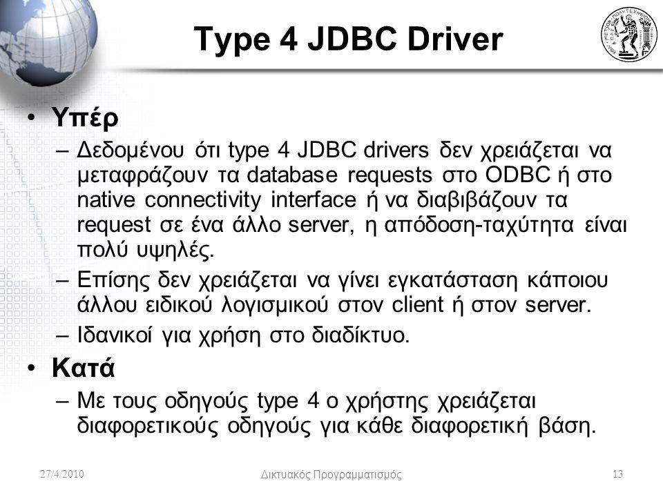 Type 4 JDBC Driver Υπέρ –Δεδομένου ότι type 4 JDBC drivers δεν χρειάζεται να μεταφράζουν τα database requests στο ODBC ή στο native connectivity interface ή να διαβιβάζουν τα request σε ένα άλλο server, η απόδοση-ταχύτητα είναι πολύ υψηλές.