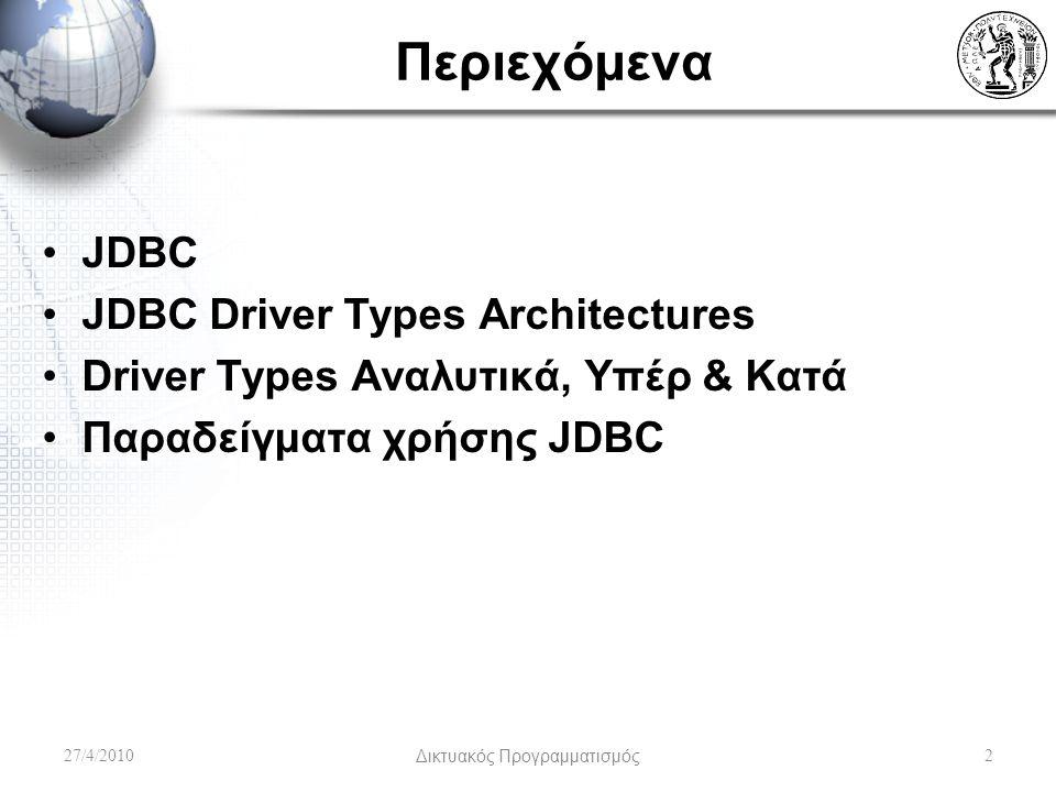 Περιεχόμενα JDBC JDBC Driver Types Architectures Driver Types Αναλυτικά, Υπέρ & Κατά Παραδείγματα χρήσης JDBC 27/4/2010Δικτυακός Προγραμματισμός2