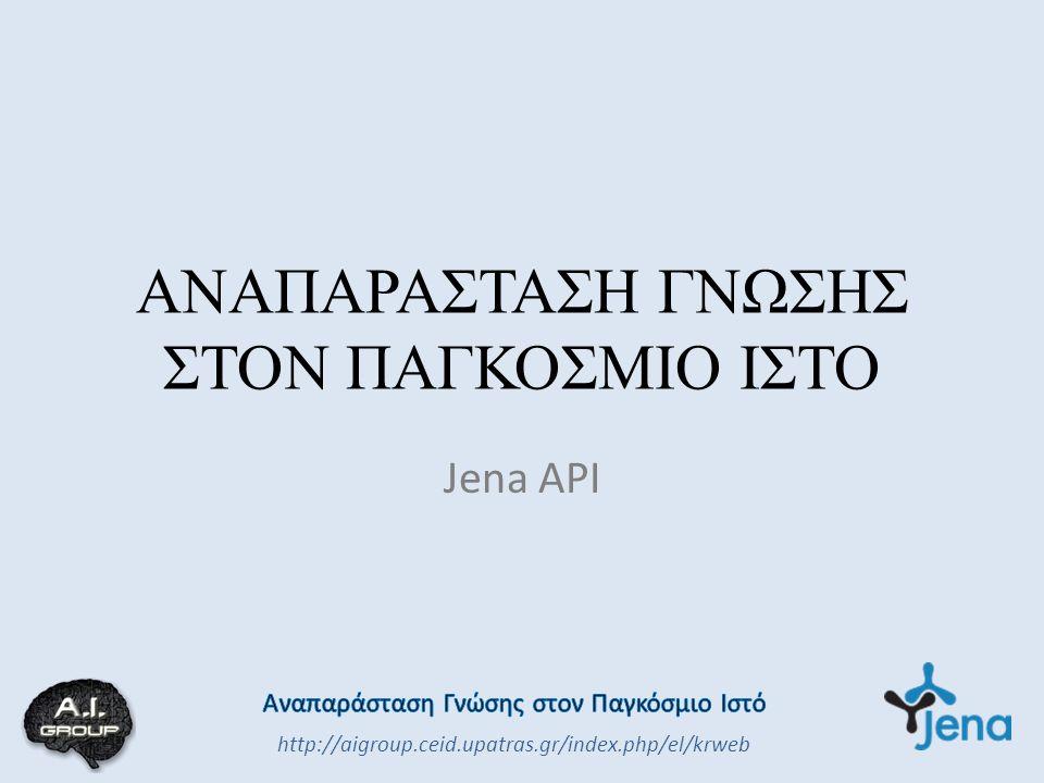 ΑΝΑΠΑΡΑΣΤΑΣΗ ΓΝΩΣΗΣ ΣΤΟΝ ΠΑΓΚΟΣΜΙΟ ΙΣΤΟ Jena API http://aigroup.ceid.upatras.gr/index.php/el/krweb