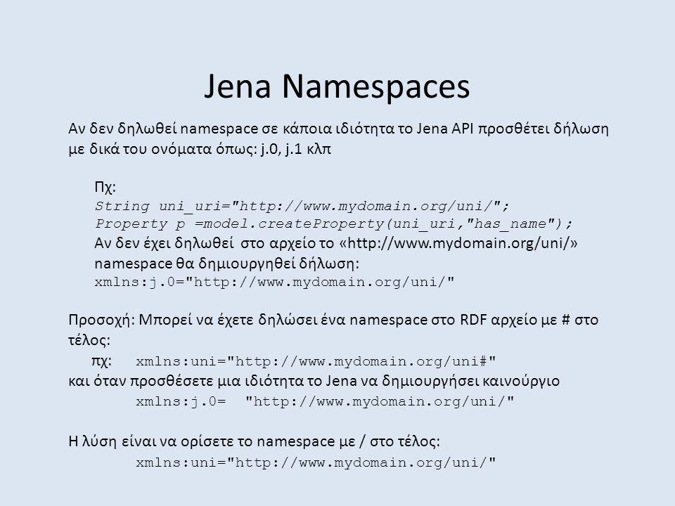 Jena Namespaces Αν δεν δηλωθεί namespace σε κάποια ιδιότητα το Jena API προσθέτει δήλωση με δικά του ονόματα όπως: j.0, j.1 κλπ Προσοχή: Μπορεί να έχετε δηλώσει ένα namespace στο RDF αρχείο με # στο τέλος: πχ: xmlns:uni= http://www.mydomain.org/uni# και όταν προσθέσετε μια ιδιότητα το Jena να δημιουργήσει καινούργιο xmlns:j.0= http://www.mydomain.org/uni/ Η λύση είναι να ορίσετε το namespace με / στο τέλος: xmlns:uni= http://www.mydomain.org/uni/ Πχ: String uni_uri= http://www.mydomain.org/uni/ ; Property p =model.createProperty(uni_uri, has_name ); Αν δεν έχει δηλωθεί στο αρχείο το «http://www.mydomain.org/uni/» namespace θα δημιουργηθεί δήλωση: xmlns:j.0= http://www.mydomain.org/uni/