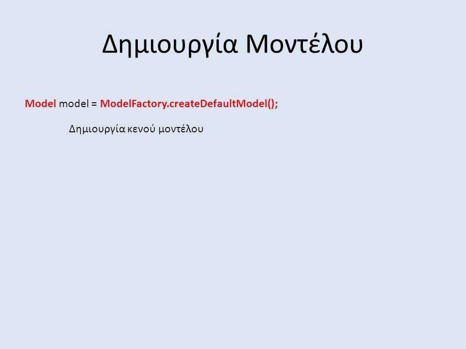 Δημιουργία Μοντέλου Model model = ModelFactory.createDefaultModel(); Δημιουργία κενού μοντέλου