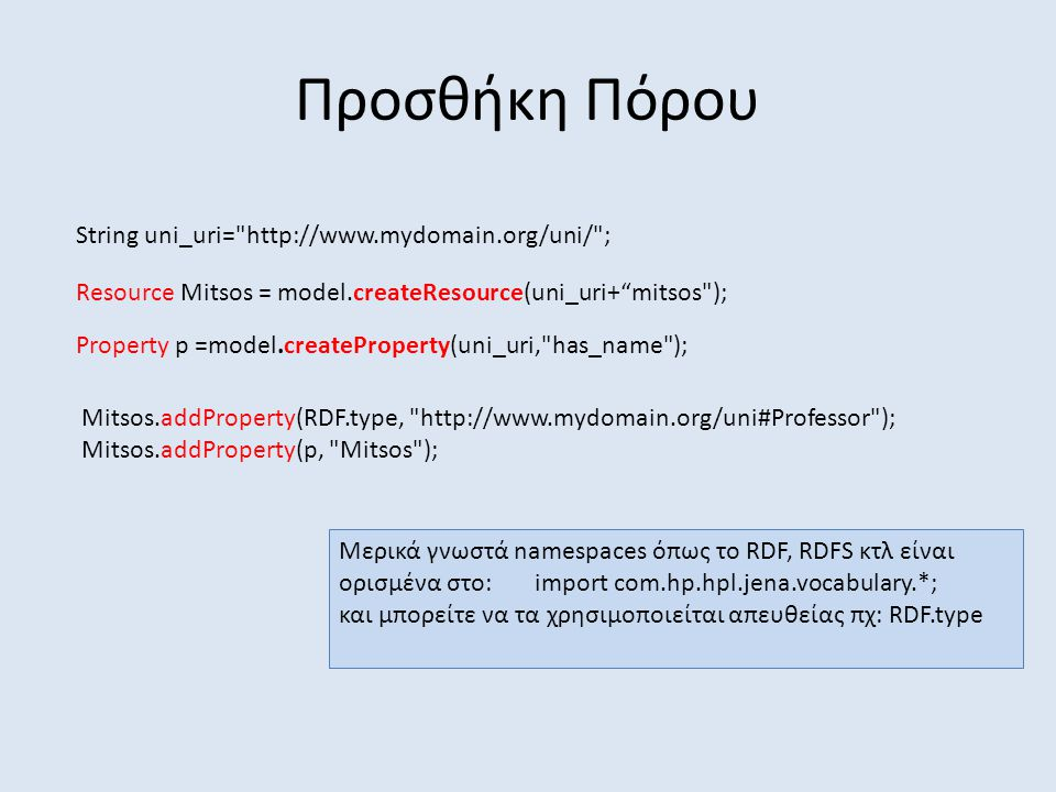 Προσθήκη Πόρου String uni_uri= http://www.mydomain.org/uni/ ; Resource Mitsos = model.createResource(uni_uri+ mitsos ); Property p =model.createProperty(uni_uri, has_name ); Mitsos.addProperty(RDF.type, http://www.mydomain.org/uni#Professor ); Mitsos.addProperty(p, Mitsos ); Μερικά γνωστά namespaces όπως το RDF, RDFS κτλ είναι ορισμένα στο: import com.hp.hpl.jena.vocabulary.*; και μπορείτε να τα χρησιμοποιείται απευθείας πχ: RDF.type
