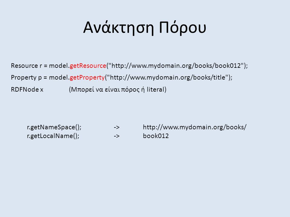 Ανάκτηση Πόρου Resource r = model.getResource( http://www.mydomain.org/books/book012 ); Property p = model.getProperty( http://www.mydomain.org/books/title ); r.getNameSpace();->http://www.mydomain.org/books/ r.getLocalName();->book012 RDFNode x(Μπορεί να είναι πόρος ή literal)