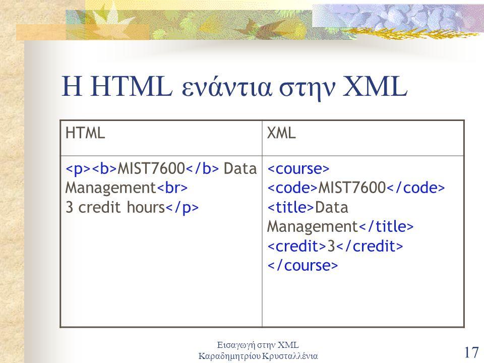 Εισαγωγή στην XML Καραδημητρίου Κρυσταλλένια 17 Η HTML ενάντια στην XML HTMLXML MIST7600 Data Management 3 credit hours MIST7600 Data Management 3