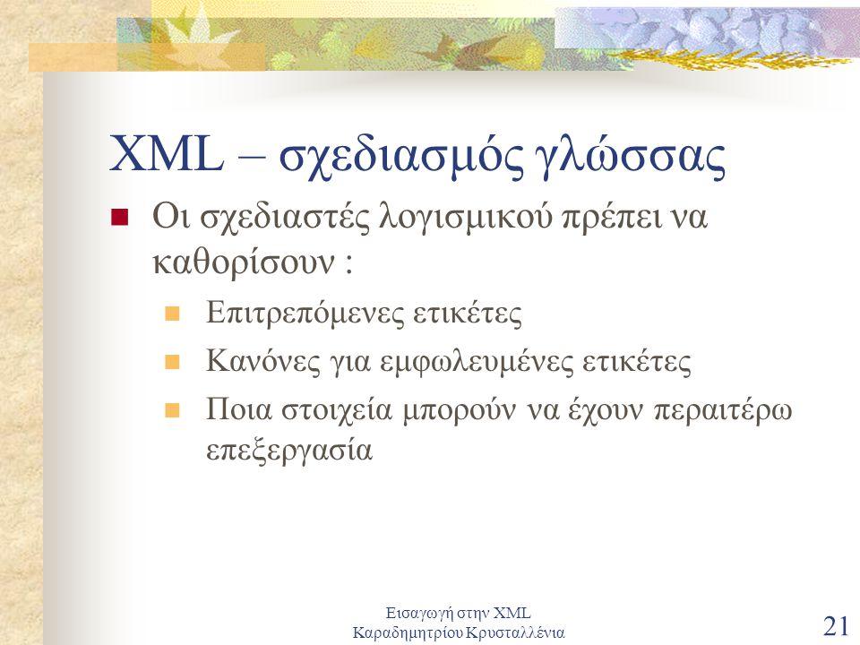Εισαγωγή στην XML Καραδημητρίου Κρυσταλλένια 21 XML – σχεδιασμός γλώσσας Οι σχεδιαστές λογισμικού πρέπει να καθορίσουν : Επιτρεπόμενες ετικέτες Κανόνες για εμφωλευμένες ετικέτες Ποια στοιχεία μπορούν να έχουν περαιτέρω επεξεργασία