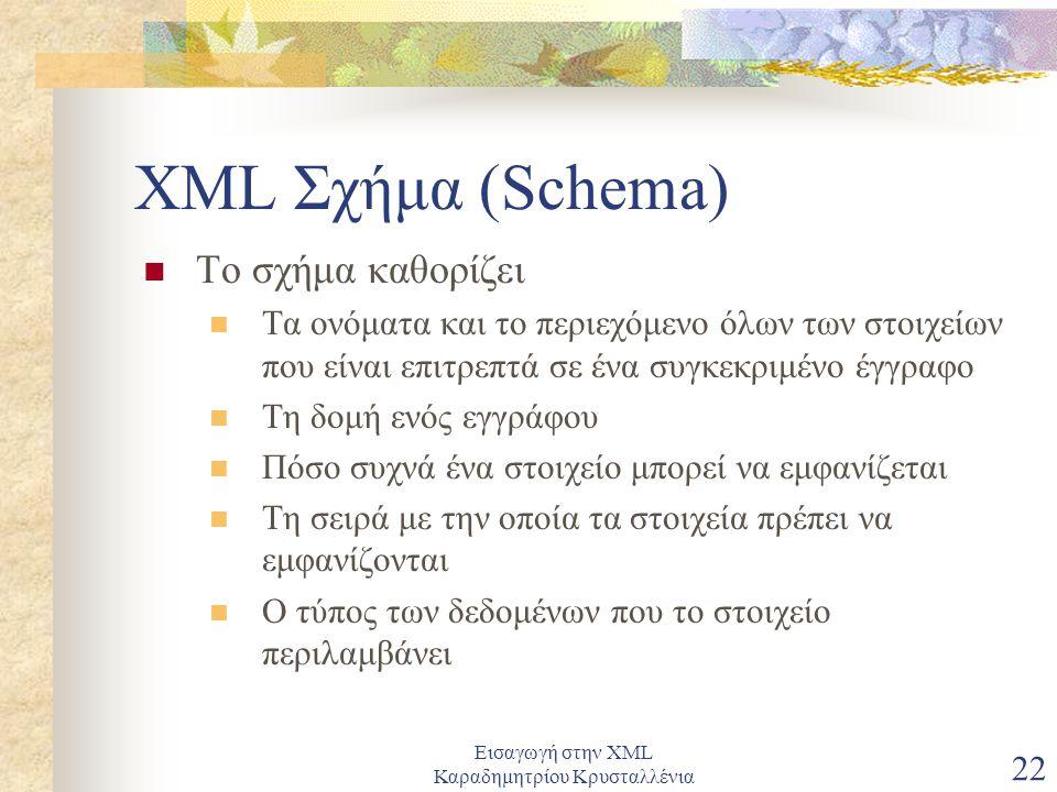 Εισαγωγή στην XML Καραδημητρίου Κρυσταλλένια 22 XML Σχήμα (Schema) Το σχήμα καθορίζει Τα ονόματα και το περιεχόμενο όλων των στοιχείων που είναι επιτρεπτά σε ένα συγκεκριμένο έγγραφο Τη δομή ενός εγγράφου Πόσο συχνά ένα στοιχείο μπορεί να εμφανίζεται Τη σειρά με την οποία τα στοιχεία πρέπει να εμφανίζονται Ο τύπος των δεδομένων που το στοιχείο περιλαμβάνει