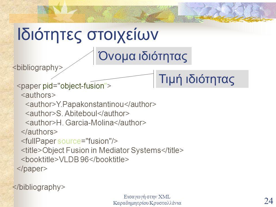 Εισαγωγή στην XML Καραδημητρίου Κρυσταλλένια 24 Ιδιότητες στοιχείων Y.Papakonstantinou S.