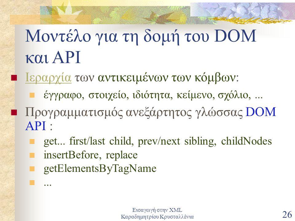Εισαγωγή στην XML Καραδημητρίου Κρυσταλλένια 26 Μοντέλο για τη δομή του DOM και API Ιεραρχία των αντικειμένων των κόμβων: Ιεραρχία έγγραφο, στοιχείο, ιδιότητα, κείμενο, σχόλιο,...