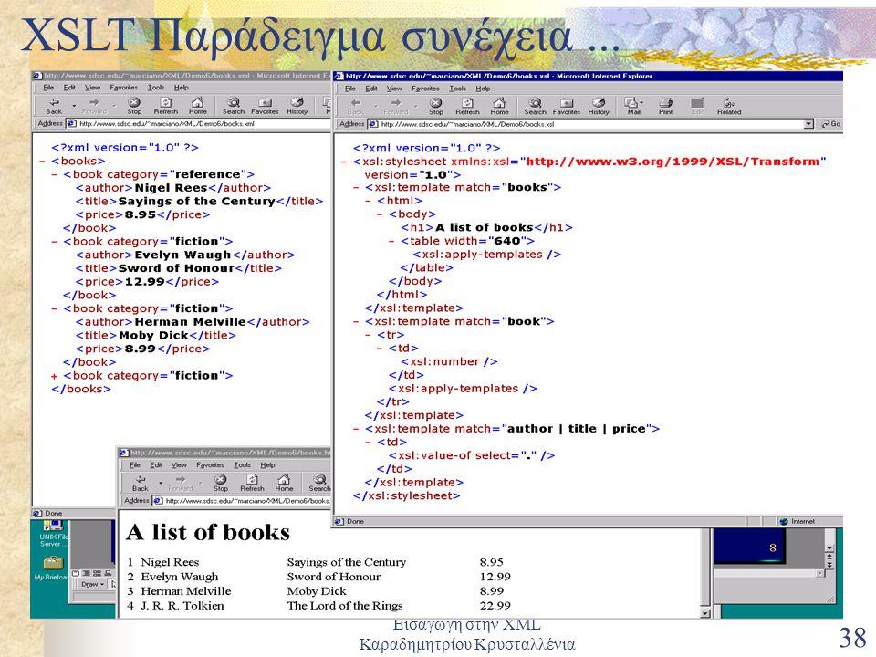 Εισαγωγή στην XML Καραδημητρίου Κρυσταλλένια 38 XSLT Παράδειγμα συνέχεια...