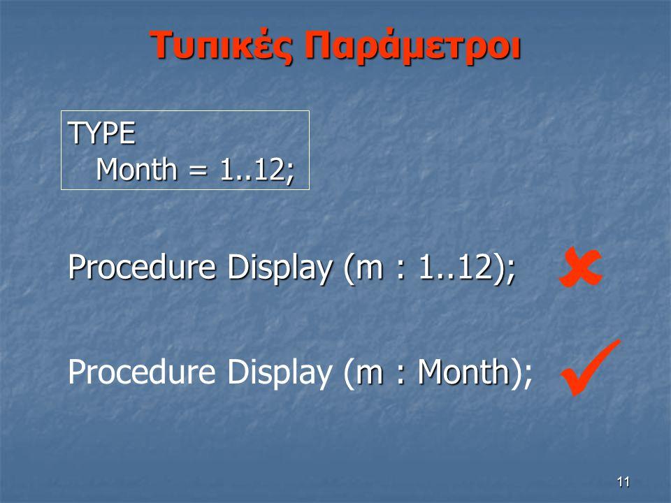 11 Τυπικές Παράμετροι m : Month Procedure Display (m : Month); Procedure Display (m : 1..12); TYPE Month = 1..12; Month = 1..12; 