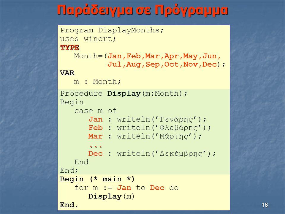 16 Παράδειγμα σε Πρόγραμμα Program DisplayMonths; uses wincrt;TYPE Month=(Jan,Feb,Mar,Apr,May,Jun, Jul,Aug,Sep,Oct,Nov,Dec);VAR m : Month; Procedure D