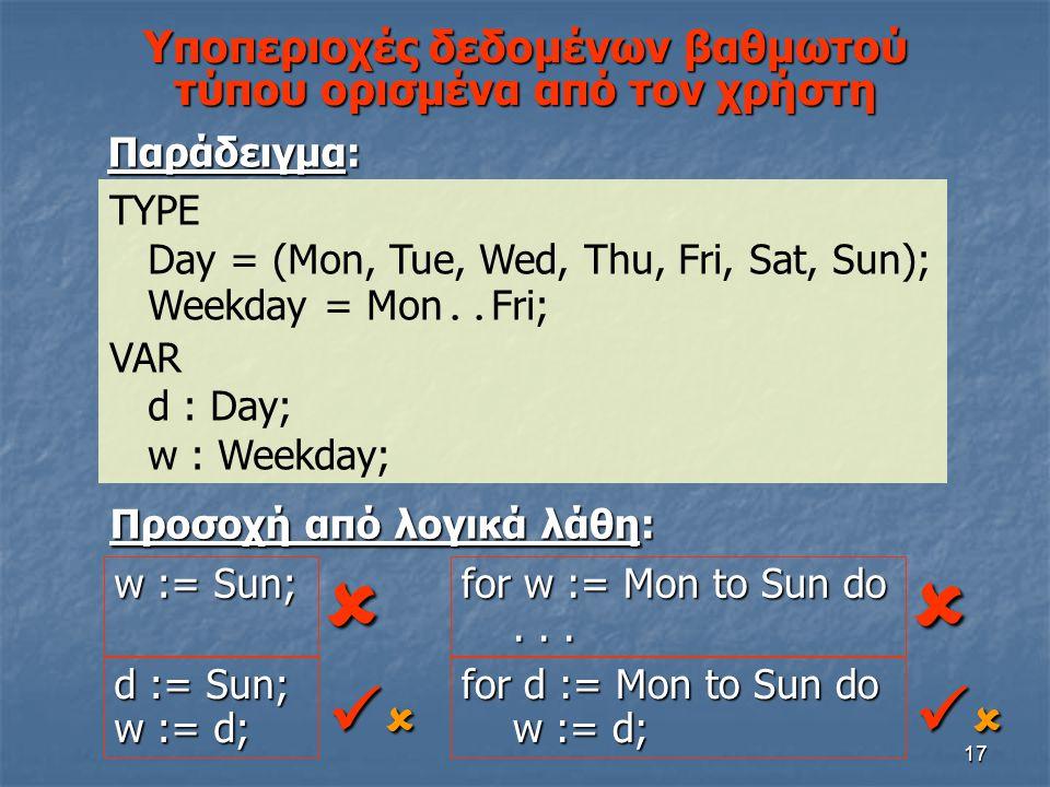 17 Υποπεριοχές δεδομένων βαθμωτού τύπου ορισμένα από τον χρήστη Παράδειγμα: TYPE Day = (Mon, Tue, Wed, Thu, Fri, Sat, Sun); Weekday = Mon.. Fri; VAR d