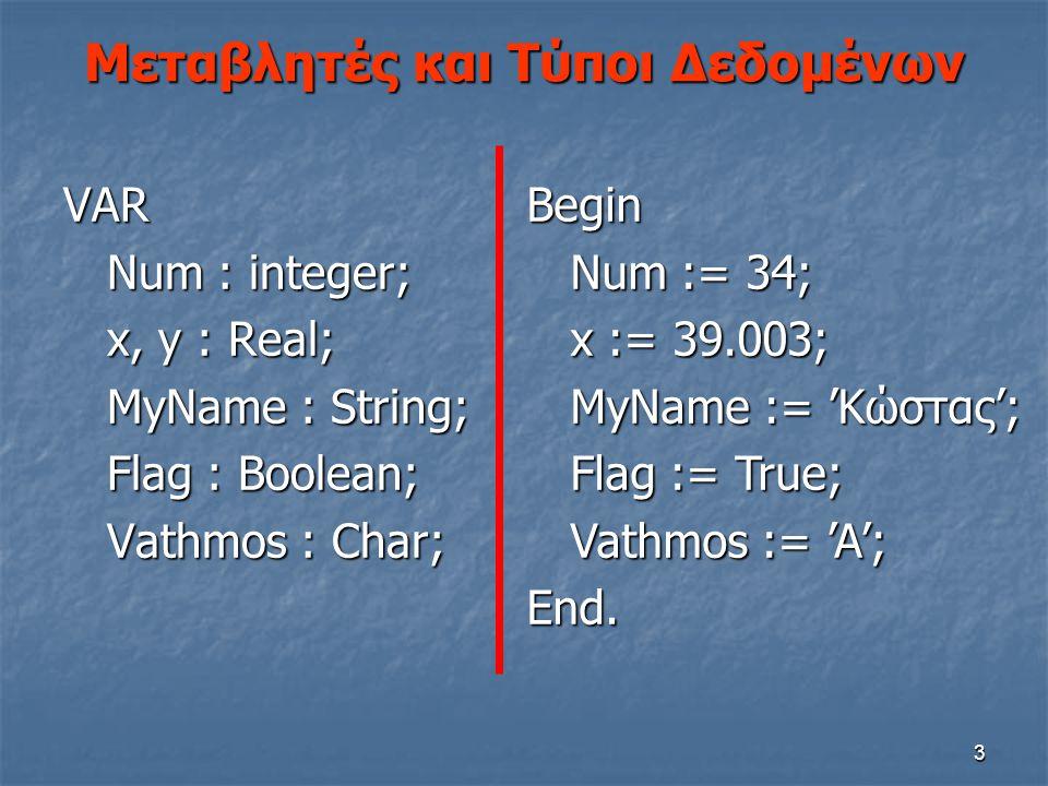 3 Μεταβλητές και Τύποι Δεδομένων VAR Num : integer; Num : integer; x, y : Real; x, y : Real; MyName : String; MyName : String; Flag : Boolean; Flag :