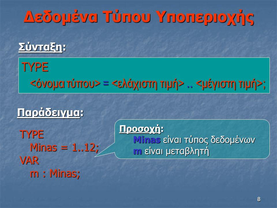 8 Δεδομένα Τύπου Υποπεριοχής TYPE =.. ; =.. ; Σύνταξη: Παράδειγμα: TYPE Minas = 1..12; Minas = 1..12;VAR m : Minas; m : Minas; Προσοχή: Minas είναι τύ