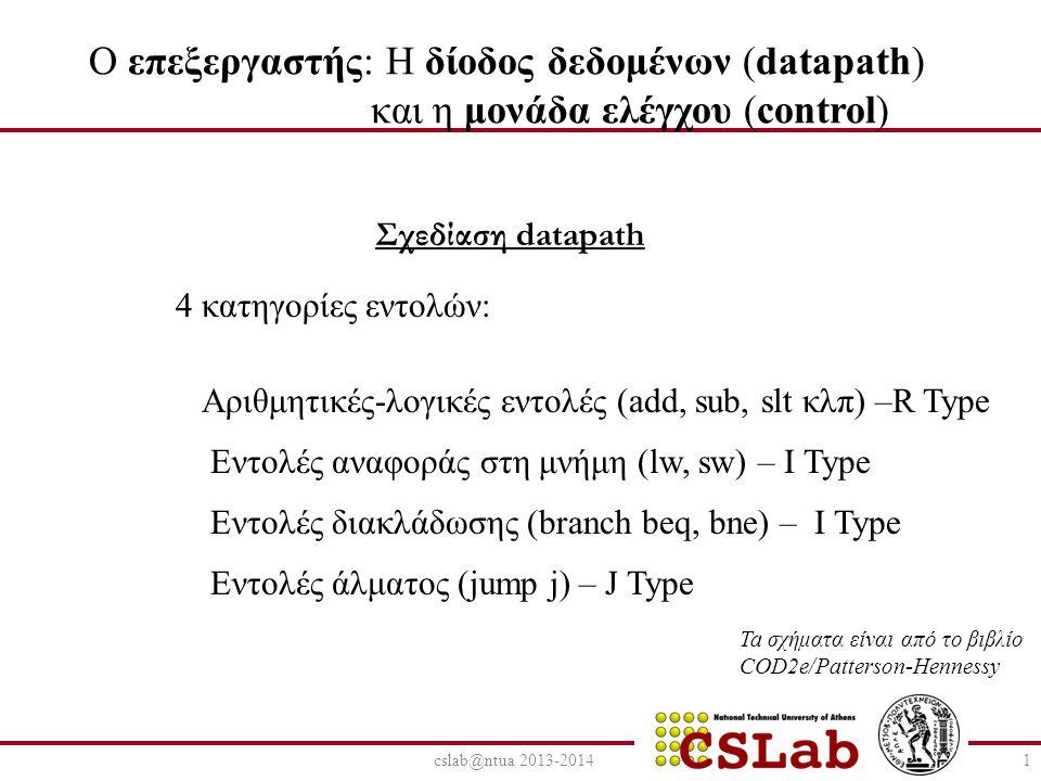 cslab@ntua 2013-20141 O επεξεργαστής: Η δίοδος δεδομένων (datapath) και η μονάδα ελέγχου (control) Σχεδίαση datapath 4 κατηγορίες εντολών: Αριθμητικές-λογικές εντολές (add, sub, slt κλπ) –R Type Εντολές αναφοράς στη μνήμη (lw, sw) – I Type Εντολές διακλάδωσης (branch beq, bne) – I Type Εντολές άλματος (jump j) – J Type Ta σχήματα είναι από το βιβλίο COD2e/Patterson-Hennessy